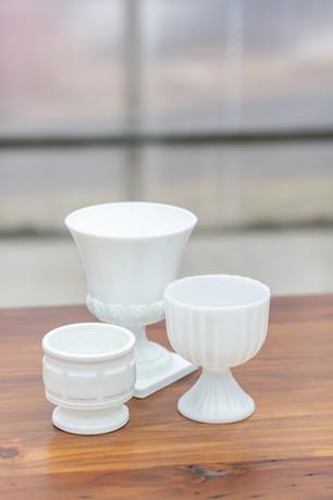 Milk Glass Footed Vessels - $1.50 - $5