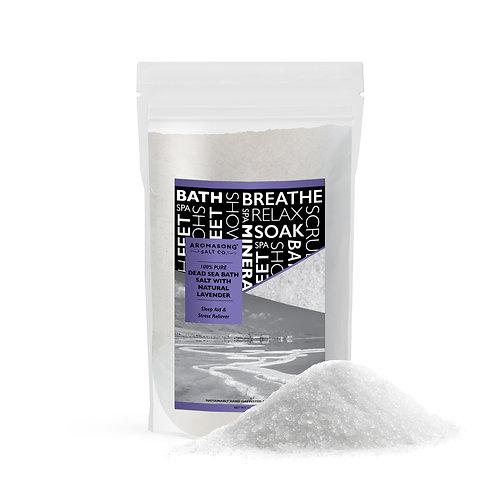 Pure Dead Sea Salt With 100% NATURAL LAVENDER, Spa Bath Salts, 5 Lbs, Fine Grain