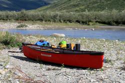 Canoe with gear start on Noatak