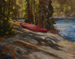 Canoes 18 x 14 oil