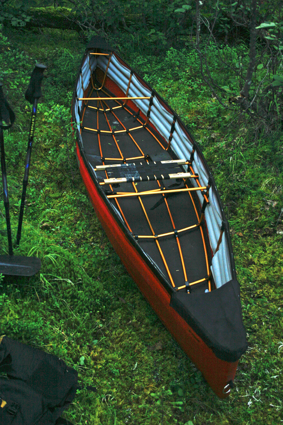 Assmbld canoe in forest dry dock