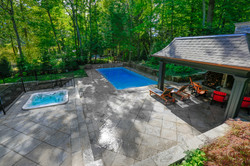 Backyard With pool and Hot tub