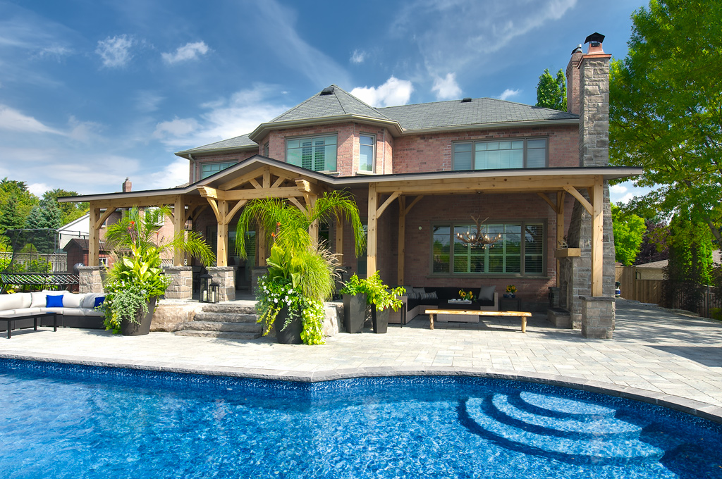 Backyard living space with pool