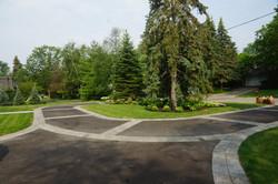 Asphalt driveway with accent border