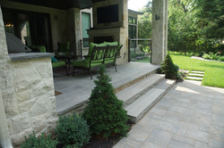 Natural stone steps, columns patio