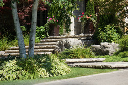 Natural stone steps and jumbo pavers