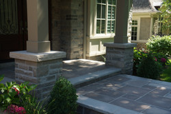 Front steps with masonry columns