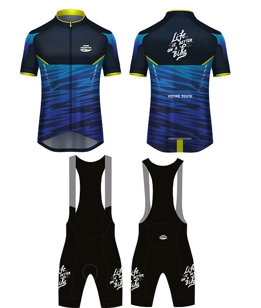 Kit Aero- Dark - 2 pièces - Personnalisation du maillot avec votre texte