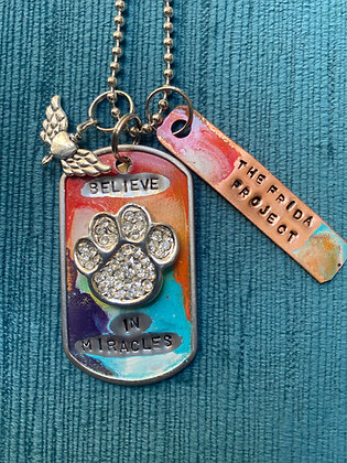 Rainbow 'Believe in Miracles' Necklace