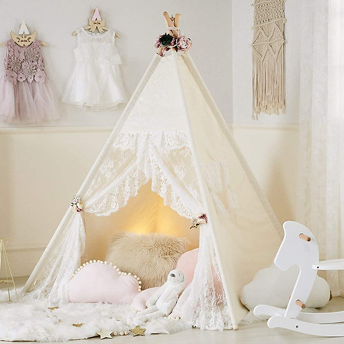 little dove Floral Classic Ivory Kids Teepee Kids Play Tent