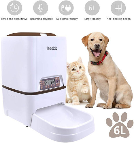 Iseebiz Automatic Cat Feeder 3L Pet Food Dispenser Feeder
