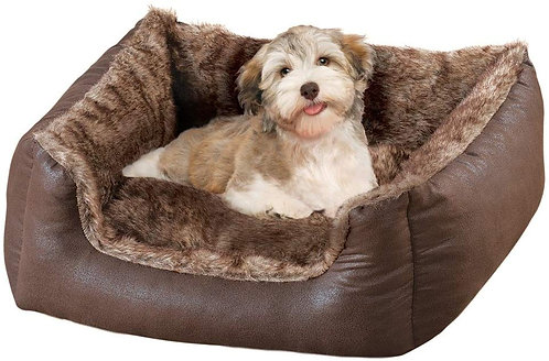 Collections Etc Collections Etc Faux Leather and Faux Fur Pet Bed Dog Bed