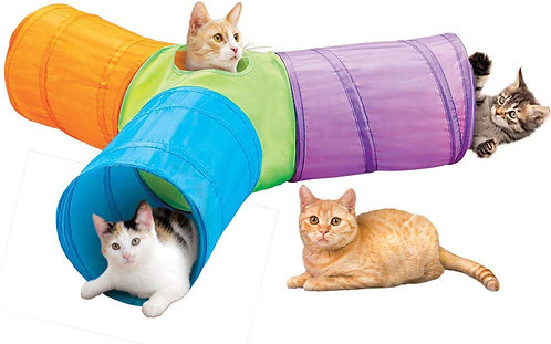 Collections Etc 3-Way Pop Up Cat Tunnel with Hanging Toys