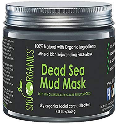 Dead Sea Mud Mask by Sky Organics For Face, Acne, Oily Skin & Blackheads