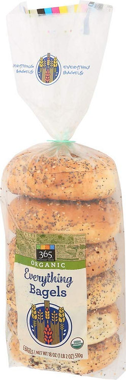 365 Everyday Value Organic Everything Bagels, 6 ct, 18 oz