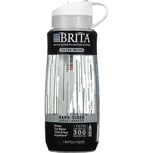 Brita Hard Sided Water Filter Bottle, 34-Ounce