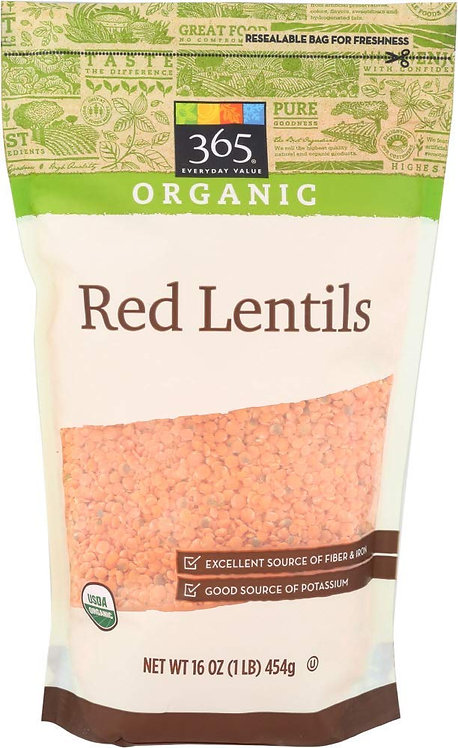 365 Everyday Value, Organic Red Lentils, 16 oz