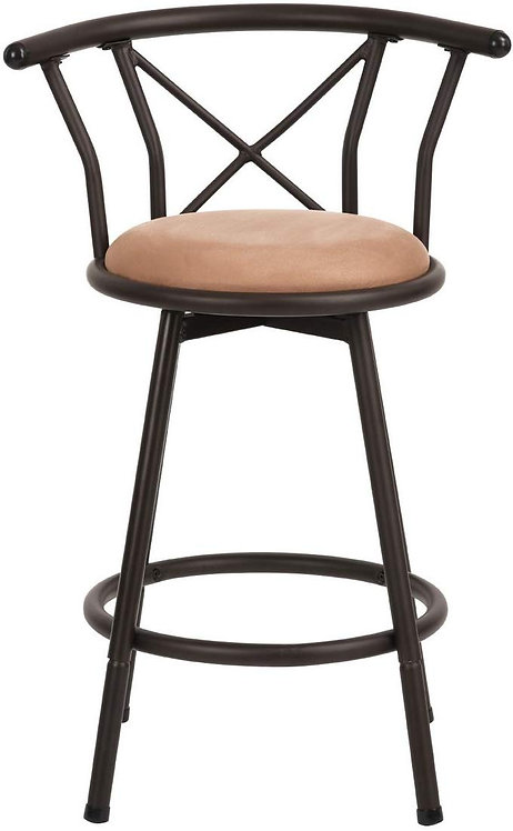 Ihouse Suede Padded Mid Back High Swivel Bar Stool Chair with Footrest