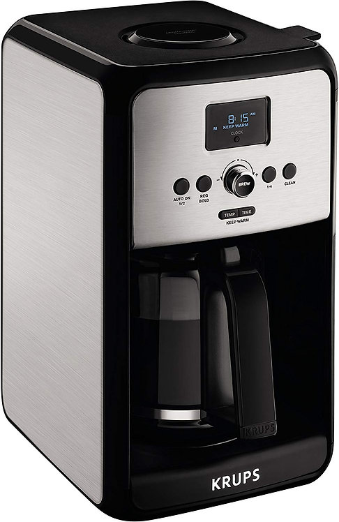KRUPS Programmable Digital Coffee Maker, Coffee Machine with StainlessSteel Body