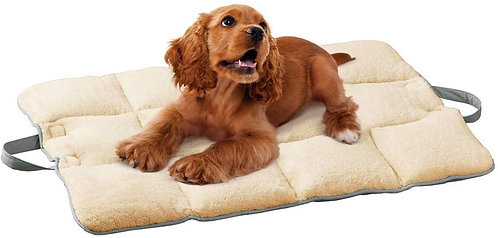 Collections Etc On-The-Go Plush Dog Travel Mat with Elastic Straps