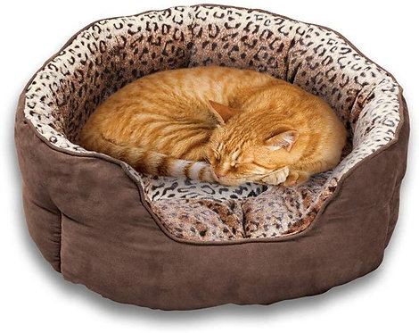 Collections Etc Faux Suede and Leopard Print Pet Bed for Cats or Dogs