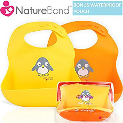 NatureBond Waterproof Silicone Baby Bibs for Babies & Toddlers
