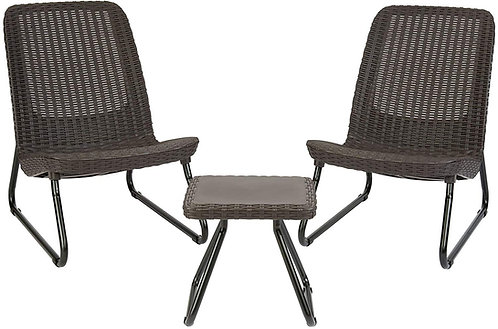 Keter Rio 3 Pc All Weather Outdoor Patio Garden Conversation Chair & Table Set F