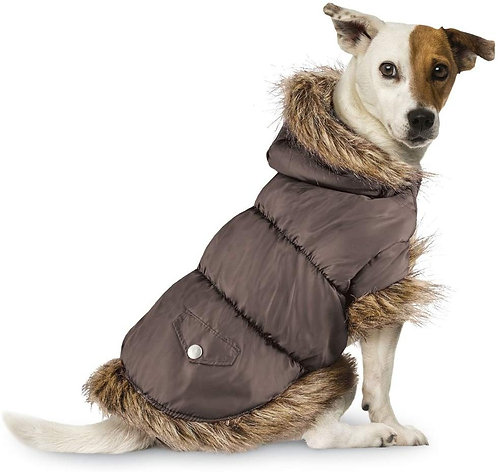 Collections Etc Faux Fur Trim Dog Puffer Jacket with Removable Hood