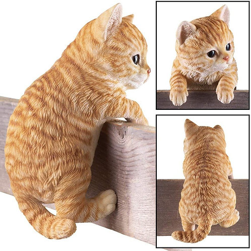 Collections Etc Kitty Peeker Over The Fence Figurine, Orange