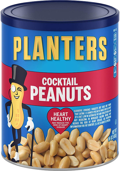 Planters Cocktail Peanuts, Salted, 16 Ounce Canister