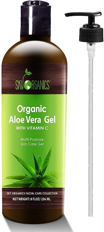 Organic Aloe Vera Gel by Sky Organics 8oz, All Natural Ultra Hydrating