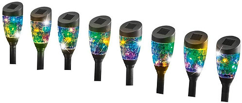 Collections Etc Solar Multicolor Sparkling Light Stakes - Set of 8