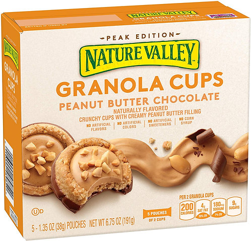 Nature Valley Peak Edition Granola Cups, Peanut Butter, 5 Pouches, 1.2 oz