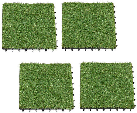 Collections Etc Low Maintenance Faux Grass Mats - Set of 4