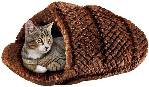 Collections Etc Plush Slipper Snuggler Pet Bed - Perfect for Cats of Small Dogs