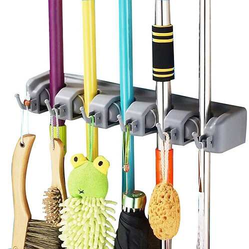 DayBuy Mop and Broom Holder Wall Closet Mounted with 5 Position and 6 Hooks