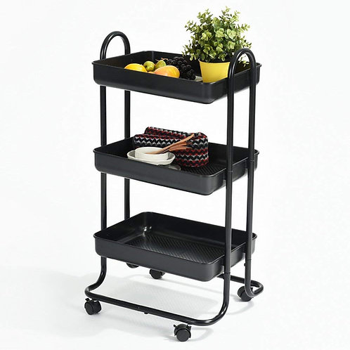 Ihouse All-Purpose Storage Organizer Portable Handed Three-Shelf Utility Carts