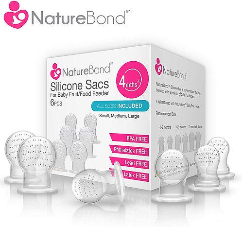 NatureBond Silicone Teat Sac (6 PCS) for Baby Food/Fruit Feeder