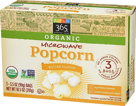 365 Everyday Value, Organic Microwave Popcorn, Butter Flavor, 3.5 Ounce Bags