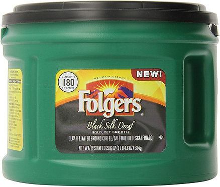Folgers Decaf Black Silk, Dark Roast Ground Coffee, 20.6 Ounce