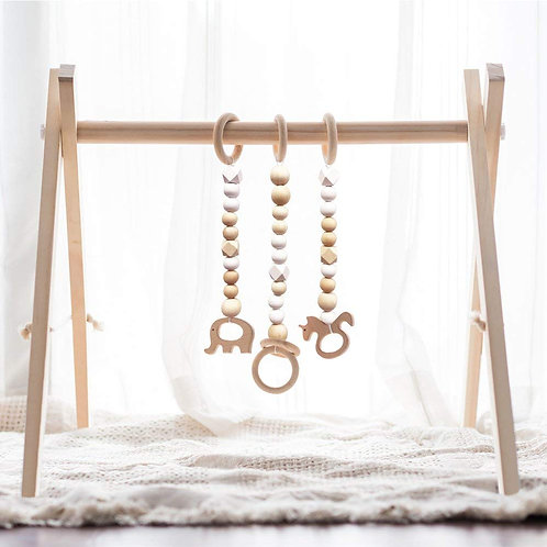 little dove Wood Baby Gym with 3 Wooden Baby Teething