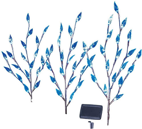 Collections Etc Leaf Branch Solar Garden Lights - Set of 3