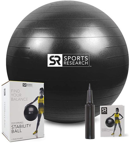 Sports Research Exercise Stability Ball with Bonus Hand Pump