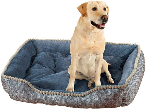 Collections Etc Blue-gray Tweed Print Comfy Pet Bed, Blue , Large