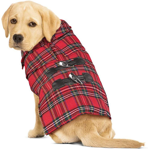 Collections Etc Red Plaid Toggle Winter Dog Jacket with Touch and Close Strap