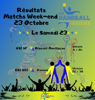 Résultats Matchs Week-end 23 Octobre