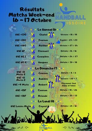 Résultats Matchs Week-end 16 - 17 Octobre