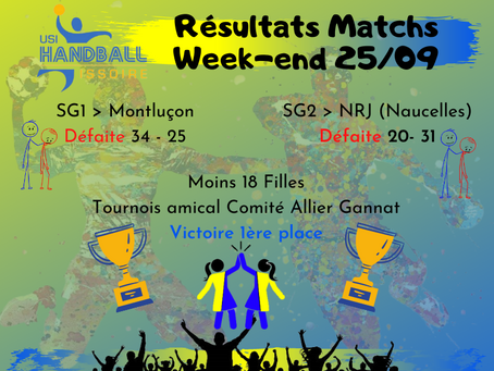 Résultats Matchs Week-end 25/09