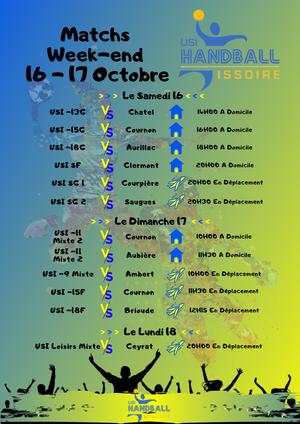 Match Week-end 16 - 17 Octobre
