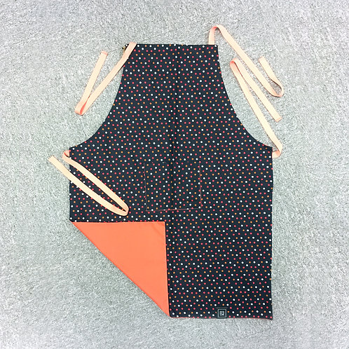 Kid's Apron Red Polka Dots on Navy